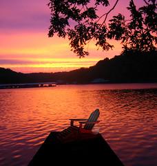 deck chair at sunset lake (Gravityx9) Tags: sunset photoshop heaven chop wowie ff mackers sxc 111006 psfo fffc wowiekazowie colourartaward colorartaward naturessilhouette