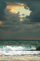 Beach At Sunrise (lynne bernay-roman) Tags: ocean light sky beach clouds sunrise surf florida horizon dramatic jupiter flickrdiamond