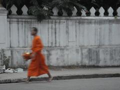 Morning alms round, Luang Prabang (retropc) Tags: orange robe buddhist monk laos luangprabang alms