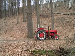 Roter Traktor im sächsischen Forst (bolti22) Tags: tractor flickr traktor random laub wald bolti22