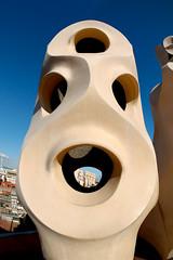 Speak... (alterednate) Tags: barcelona roof chimney sculpture building face architecture d70s fisheye gaudi organic casemila pedrera nikkor105mm