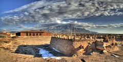 Coronado State Monument, New Mexico (JoelDeluxe) Tags: panorama newmexico monument state ladder nm joeldeluxe coronado hdr kiva sandiamountains bernalillo 2atatime hdr3xp kuaua santaanapueblo autostich2