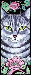"""Art Mew-Vo"" - cat painting by Jane Diamond (Jane (on break)) Tags: flowers cats black art abbey cat grey feline jane lotus tabby kitty diamond artnouveau swirls etsy ilovemycat lilypad abs acrylicpainting kittyloaf petportrait tabbycat lightpink catland catart felineart catpainting sagegreen catartist catpaintings abbeydiamond artmewvo janediamondsart petpaintings janediamond portraitofmycat wigglyvillepetboutique felinepainting artmewvodesigns petportraitpainting artmewvodesigns msabbey janediamonddesigns artnouveaucat artnouveaucatart petcatpainting contentcat janeincatland odetoabbey abigaildiamond artnouveaucatpainting abigailabbeydiamond odetoabs withjaneincatland tabbycatpainting"