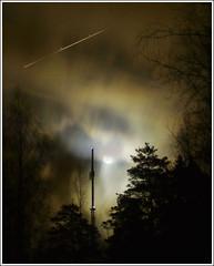 radio moon 4 ([ Petri ]) Tags: longexposure sky moon night clouds espoo finland eerie creepy nightsky outerspace radiomast