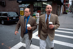 (eddie-g) Tags: street nyc two newyork color coffee crazy suits slide cigar