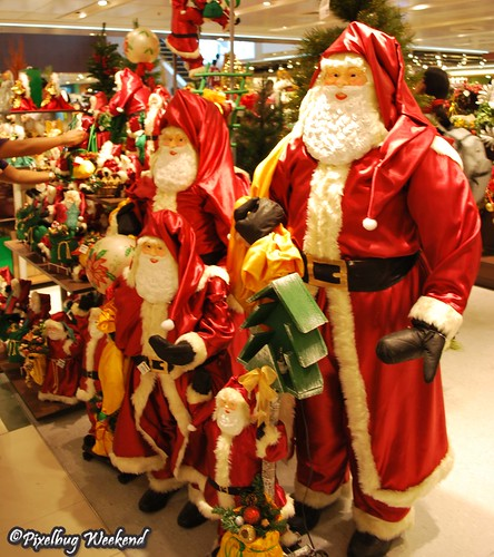 Santas in the mall